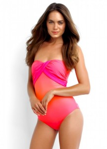 Roze Seafolly Bandeau badpak uit Miami collectie
